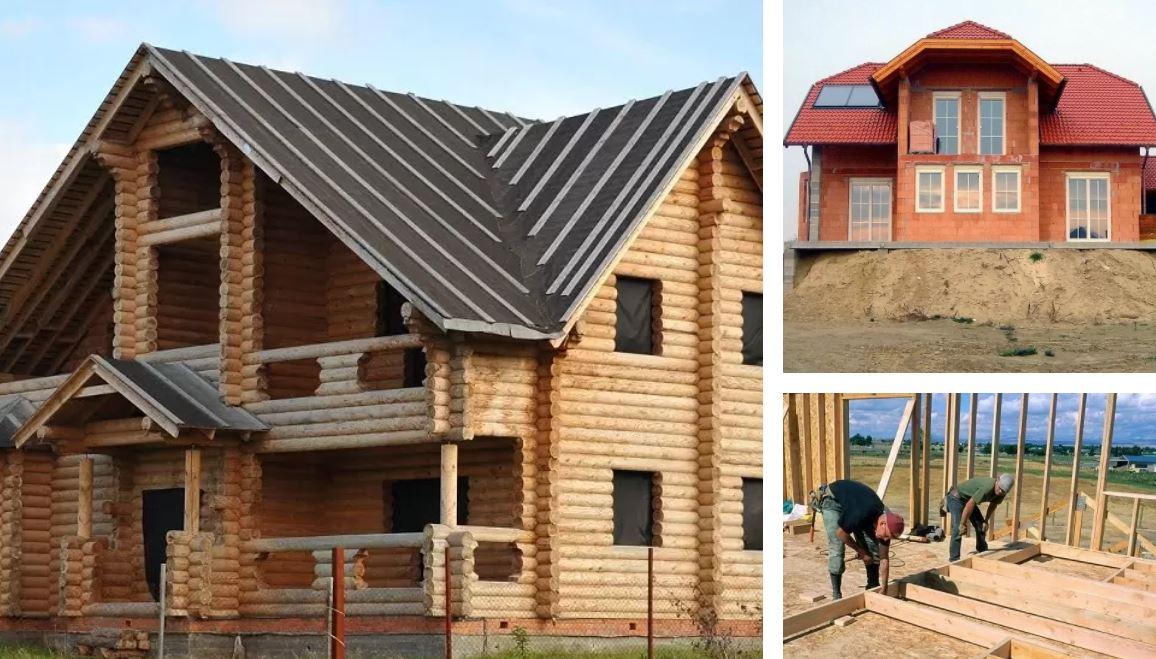 There are several types of houses, among them frame houses, log houses